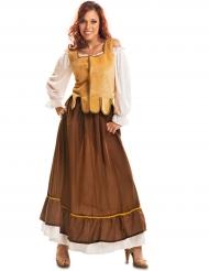 Disfarce taberneira medieval amarelo e castanho mulher