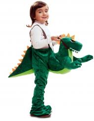 Disfarce aventureiro às costas de um dinossauro menino