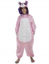 Disfarce macacão urso cor-de-rosa criança