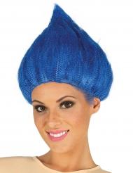 Peruca troll azul adulto