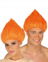 Peruca troll cor de laranja adulto