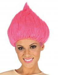 Peruca troll cor-de-rosa fuschia adulto