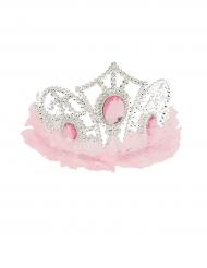 Diadema princesa com tule cor-de-rosa