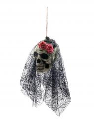 Caveira com véu para pendurar Halloween