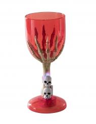 Copo luminoso vermelho mão de esqueleto Halloween