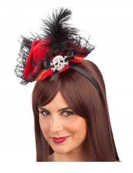 Mini chapéu pirata vermelho - mulher
