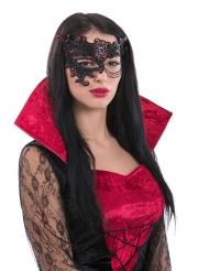Meia máscara preta e vermelha com corrente mulher