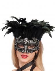 Máscara prateada com penas mulher