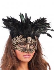 Máscara dourada com penas mulher