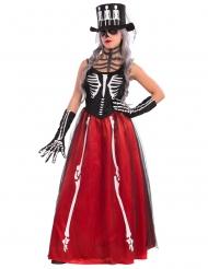 Disfarce esqueleto elegante mulher Halloween