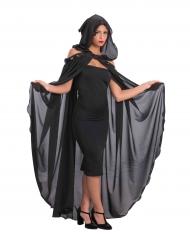 Capa comprida preta com capuz mulher