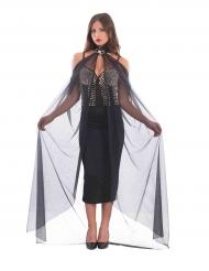 Capa comprida preta com colar mulher