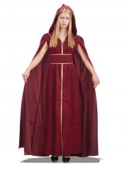Disfarce princesa medieval com capa mulher