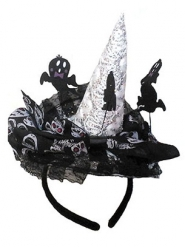 Arco para cabelo bruxa esqueleto mulher Halloween
