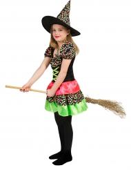 Disfarce bruxa as bolinhas coloridas menina Halloween
