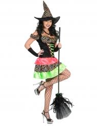 Disfarce bruxa as bolinhas coloridas mulher Halloween