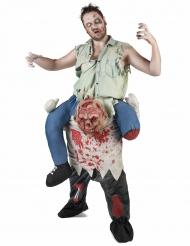 Disfarce homem as costas de um zombie Halloween adulto