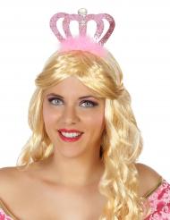Diadema de princesa cor-de-rosa adulto