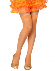 Meias de rede cor de laranja mulher