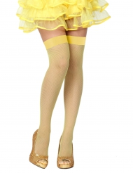 Meias de rede amarelas mulher