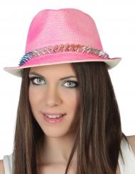 Chapéu borsalino cor-de-rosa adulto