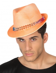 Chapéu borsalino cor de laranja com fita adulto