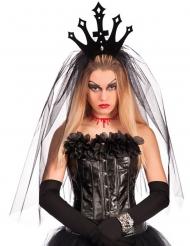 Coroa preta com véu mulher