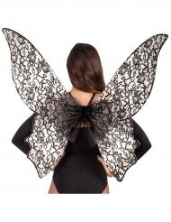 Asas grandes borboleta preta mulher
