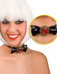 Laço preto com diamante vermelho adulto Halloween