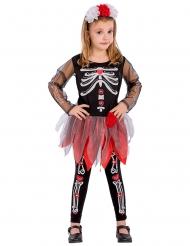 Disfarce esqueleto vermelho e preto menina