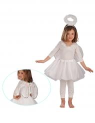 Kit acessórios anjo branco e prateado menina