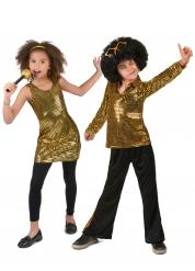 Disfarce de casal disco dourado - criança