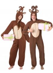 Disfarce de casal rena de Natal adulto