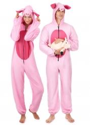Disfarce de casal porco cor-de-rosa adulto