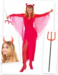 Pack disfarce diabinha mulher com chifres e tridente Halloween