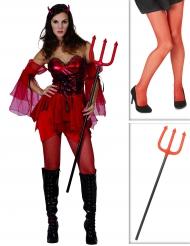 Pack disfarce diabinha mulhercom collants e tridente Halloween