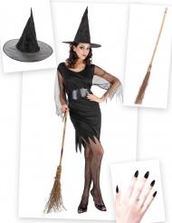 Pack disfarce de bruxa mulher com vassoura e chapéu Halloween