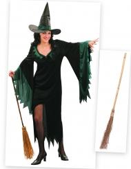 Pack disfarce de bruxa mulher com vassoura Halloween
