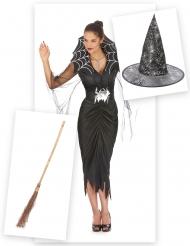 Pack disfarce de bruxa aranha mulher com vassoura e chapéu Halloween