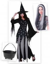 Pack disfarce de bruxa mulher com caldeirão e peruca Halloween