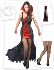 Pack disfarce vampiro mulher com dentes, sangue falso e collants Halloween