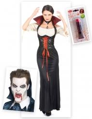 Pack disfarce vampiro mulher com dentes e sangue falso Halloween