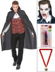 Pack de vampiro com capa, dentes, sangue falso e medalha Halloween