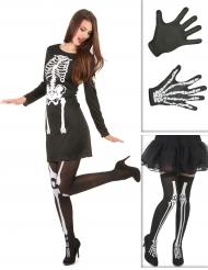 Pack disfarce esqueleto mulher com meias e luvas Halloween