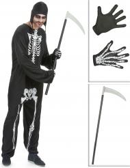 Pack disfarce esqueleto homem com foice e luvas Halloween