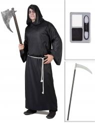 Pack disfarce Senhor da morte com foice e maquilhagem Halloween
