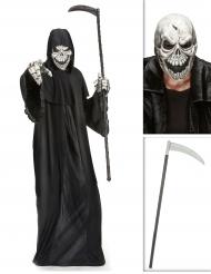Pack disfarce senhor da morte com máscara e foice Halloween