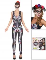Pack disfarce Dia de los muertos com bandolete e maquilhagem Halloween
