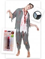 Pack disfarce zombie homem com sangue falso e maquilhagem Halloween