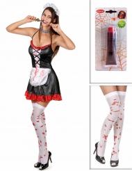 Pack disfarce empregada zombie com meias e sangue falso Halloween